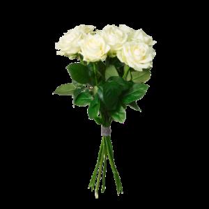 Bukett med fem vita rosor.